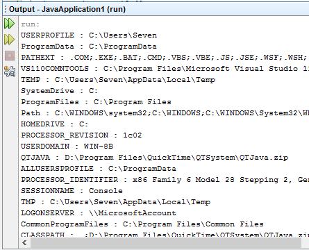 List system environment