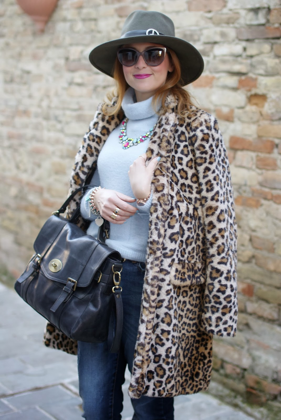 leopard faux fur coat, Mulberry Alexa dupe bag, Ecua-Andino australian hat, satchel bag, Fashion and Cookies, fashion blogger