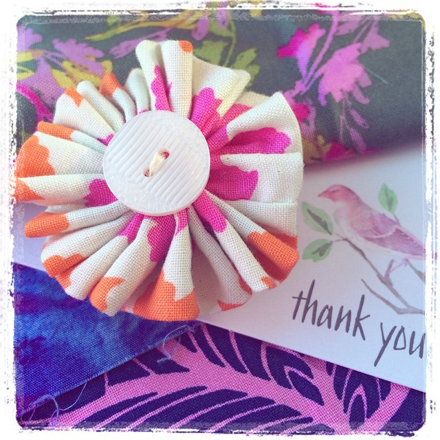 hand made fabric corsage broach