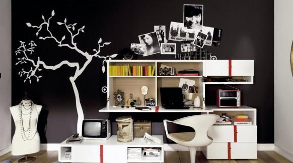 современный дизайн комнаты для девушки подростка в черном цвете фото