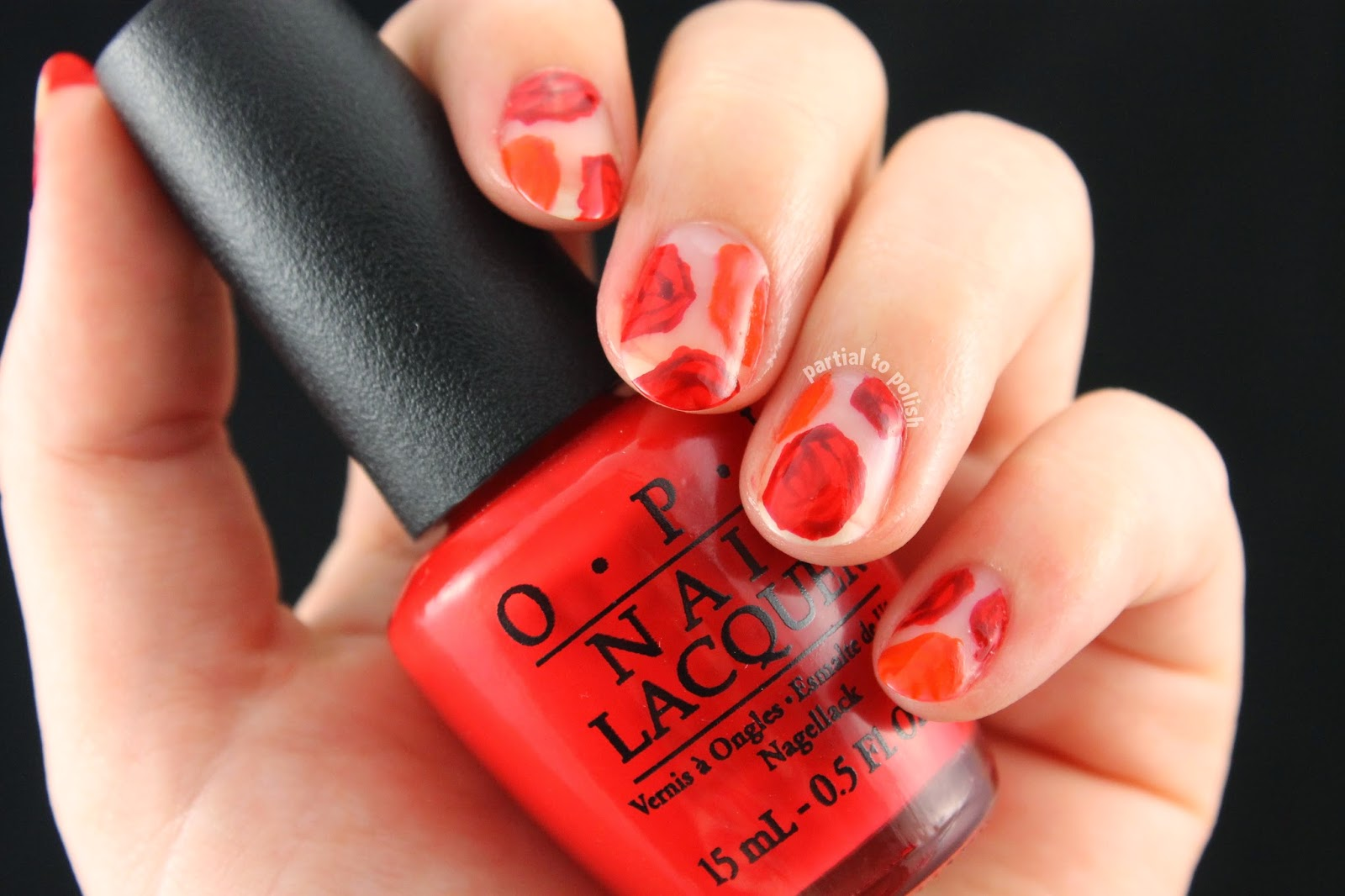 Orange and Red Negative Space Rose Nail Art Featuring Deborah Lippmann Nail Polish