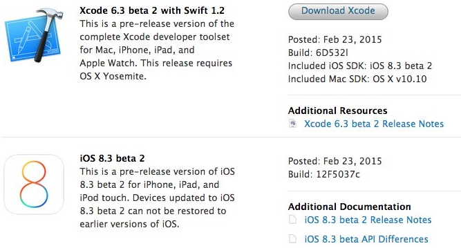 Apple iOS 8.3 Beta 2 (12F5037c) and Xcode 6.3 Beta 2 (6D532l)