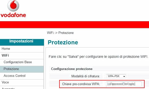 Password WiFi salvata nel router