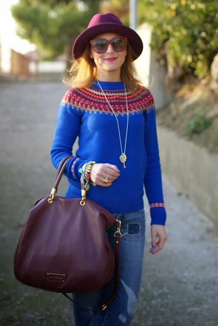 Tiffany necklace, fair isle jumper, Ecua-Andino hat, Fashion and Cookies, fashion blogger