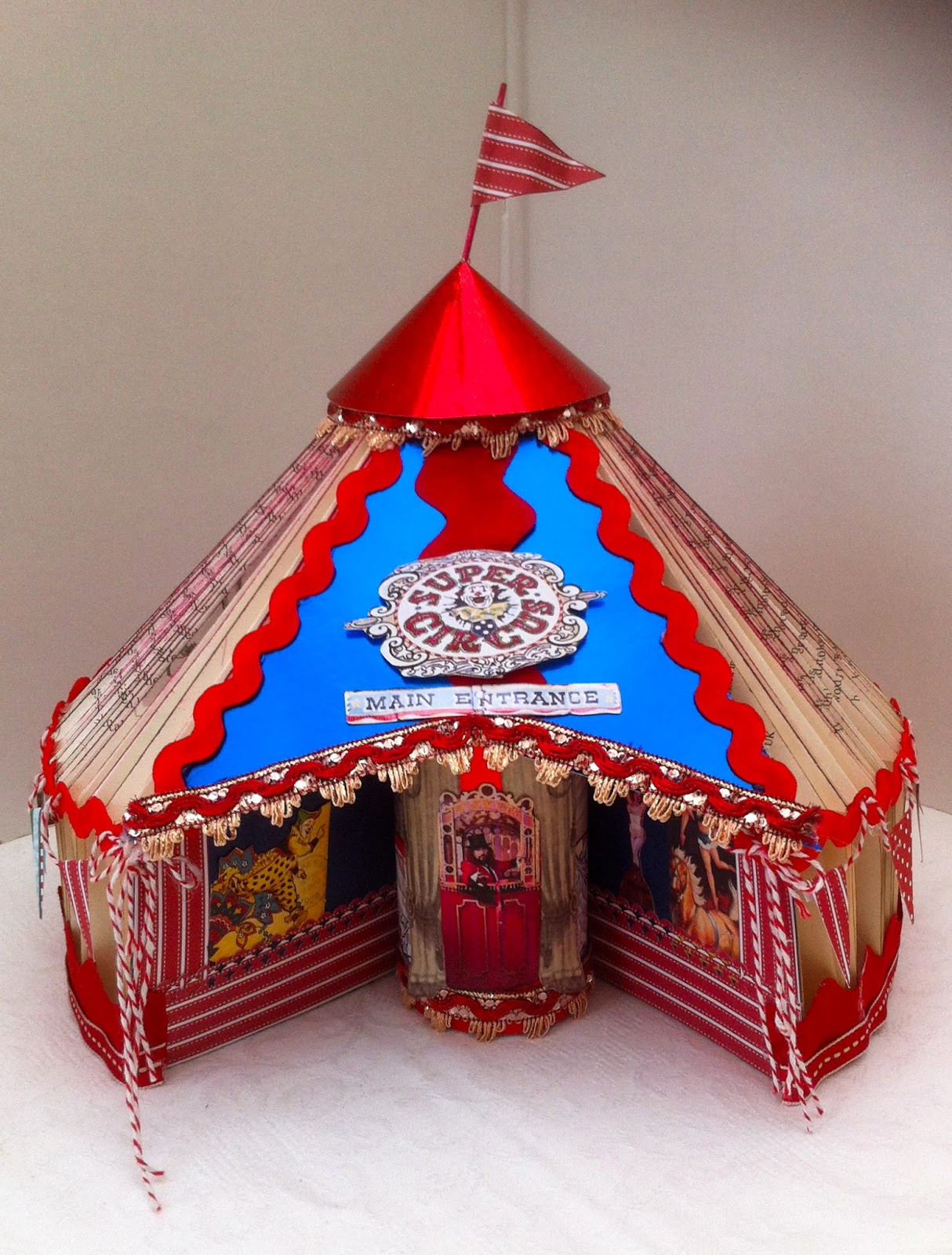 Circus Tent Made from a Folded Book & Cards2Inspire: Circus Tent Made from a Folded Book