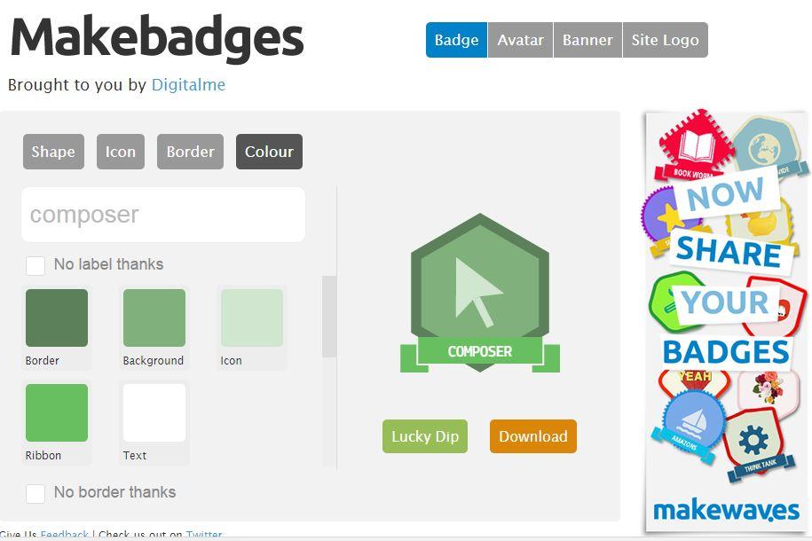 Diseña avatares y distintivos