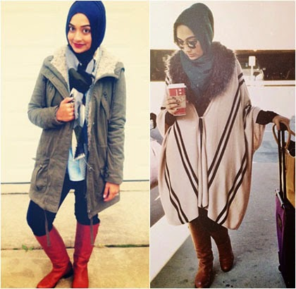 Vintage Hijab Style With Boots By Sania Siddiqui