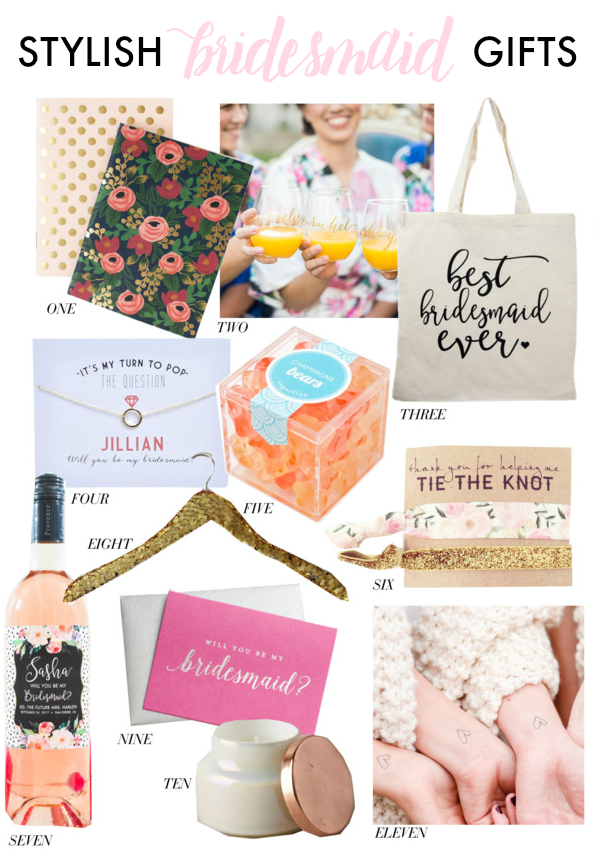 stylish & thoughtful bridesmaid gifts for your favorite ladies