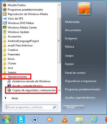 Copia seguridad datos Windows 7