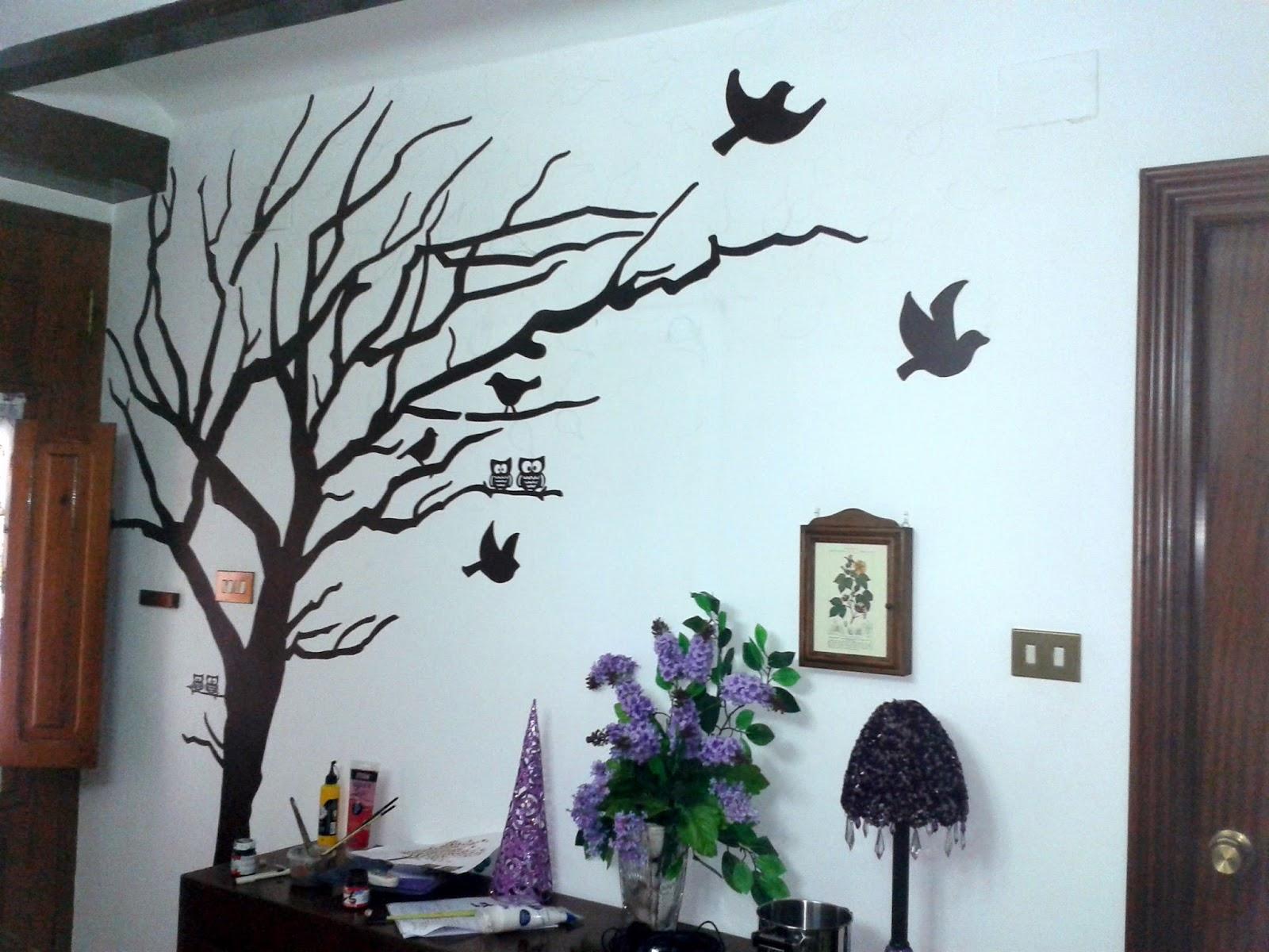 Diy mural rbol con hojas geno dise o arte - Arboles en la pared ...