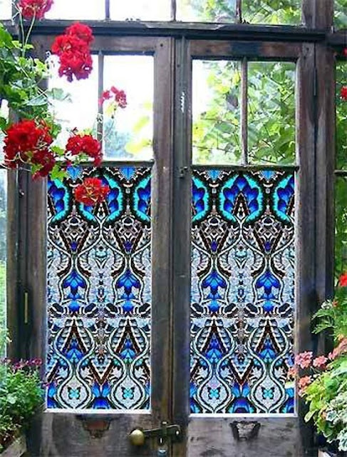 Decorative Privacy Film Door Glass Cling In Mosaic