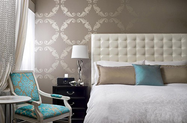 Laura adkin interiors a luxurious bedroom on a budget for Grey feature wallpaper bedroom