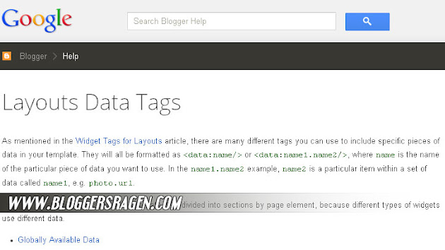 blogger template data tags