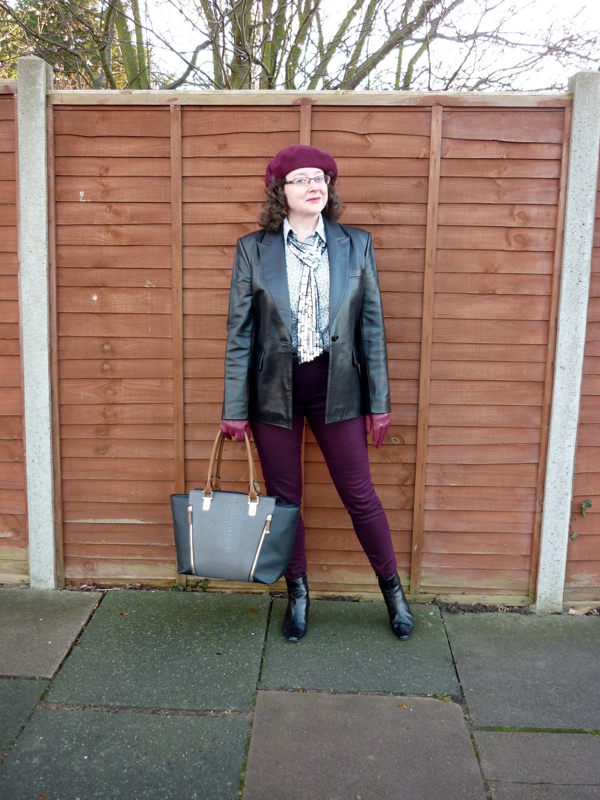 Precis Leather Jacket, Accessorize Wool Beret, New Look Sequin Scarf, Land's End Shirt | Petite Silver Vixen