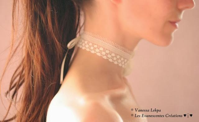 mariage bijoux collier en dentelle de calais ivoire et fleur en soie et perles de cristal ambre nacrée eau douce