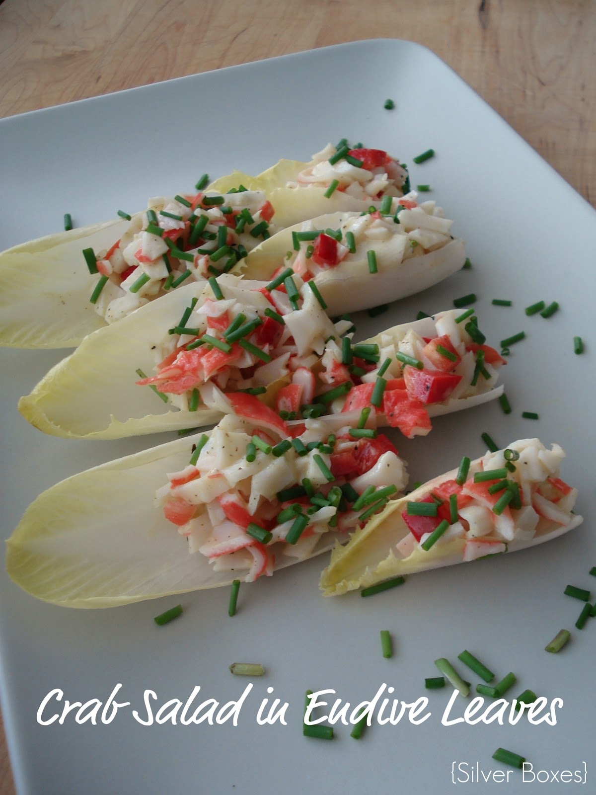 Silver Boxes: Crab Salad in Endive Leaves