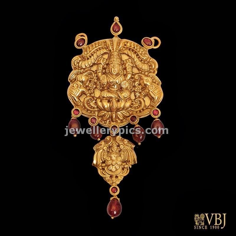 lakshmi devi gold pendent