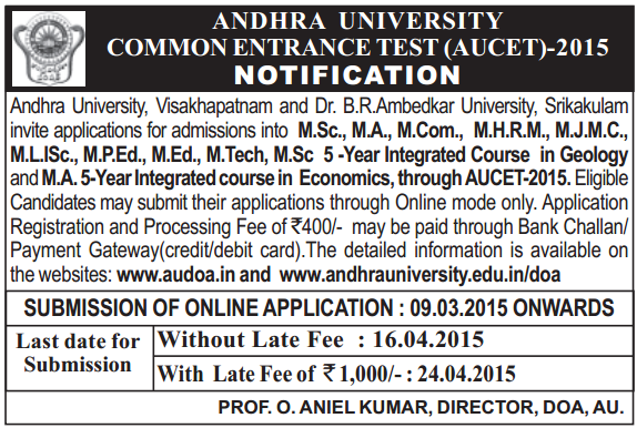 AUCET Official Notification 2015