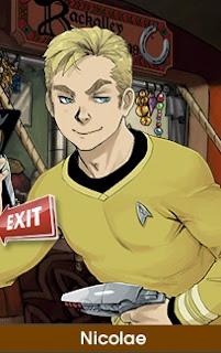 Nicolae is wearing a Captain Kirk from Star Trek uniform