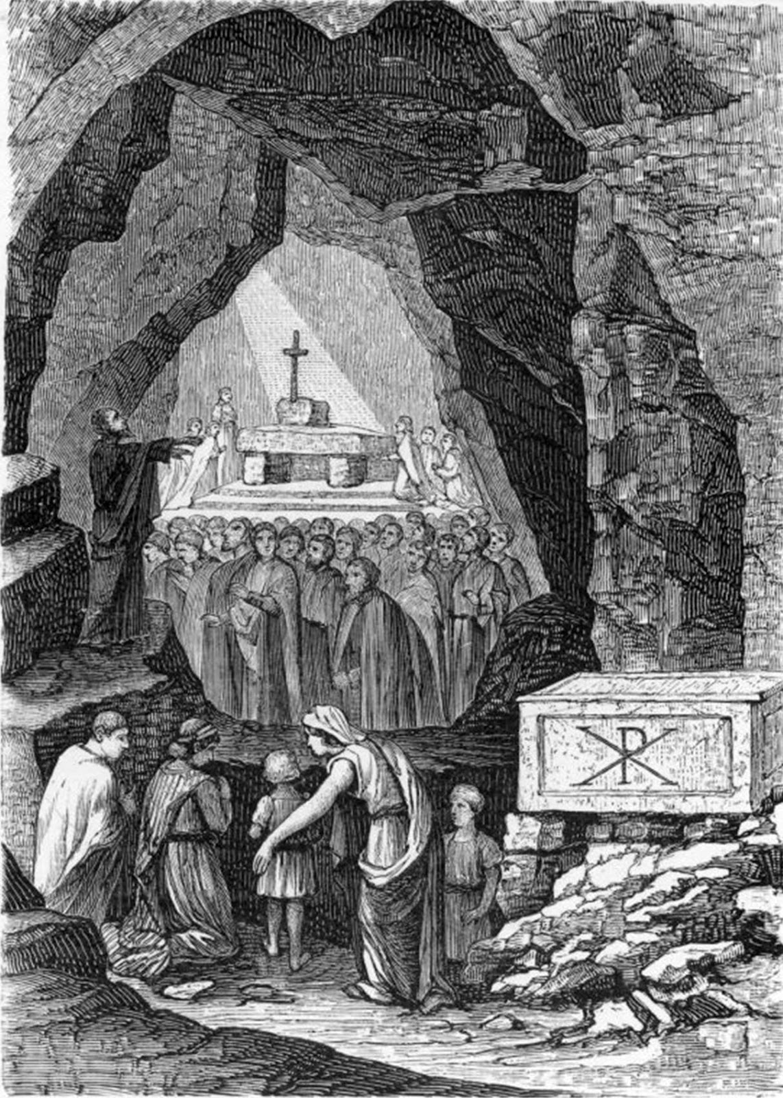 Early followers of Jesus worship in caves beneath Rome.