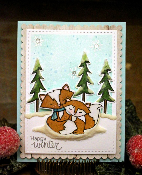 Winter fox and snow Card by Larissa Heskett | Fox Hollow stamp set & die set by Newton's Nook Designs #newtonsnook #fox