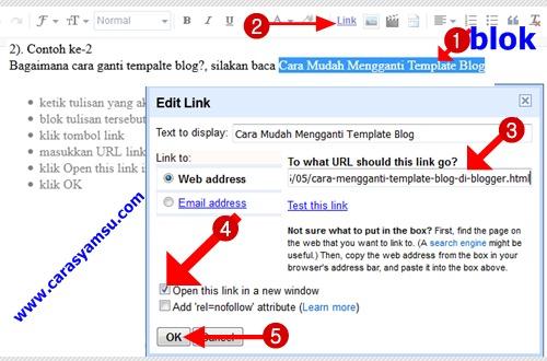 Cara membuat link blog berupa tulisan