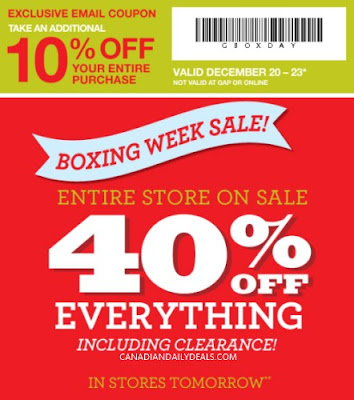 photograph about Gap Factory Printable Coupon titled Canadian Everyday Promotions: Hole Manufacturing facility Retailer: Boxing 7 days Sale