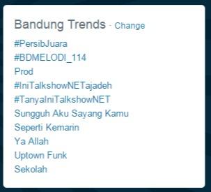 Hashtag #PersibJuara Jadi Trending di Twitter