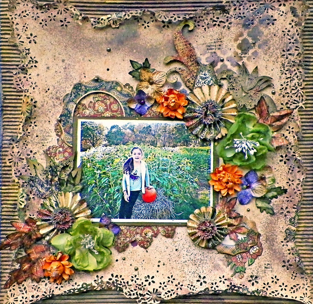 shabby chic, mixed media Autumn / Fall layout by Lisa Novogrodski