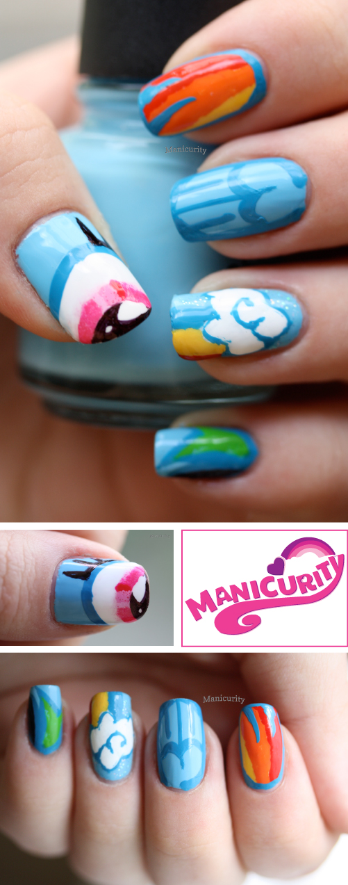 Manicurity entry for Rainbow Honey My Little Pony nail art competition