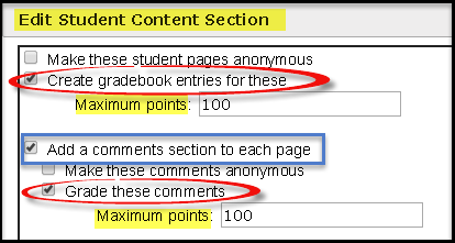 Add Grading and Comments for Student Pages
