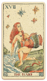 The Stars card - Colored illustration - In the spirit of the Marseille tarot - major arcana - design and illustration by Cesare Asaro - Curio & Co. (Curio and Co. OG - www.curioandco.com)
