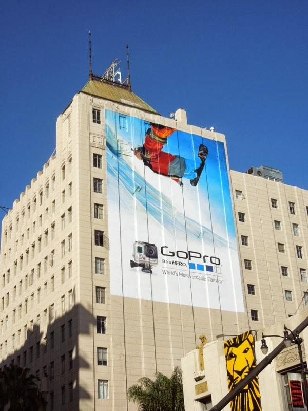 Giant GoPro snowboarding billboard