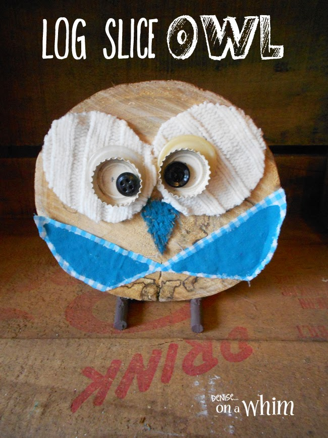 Make an Owl from A Log Slice via Denise on a Whim
