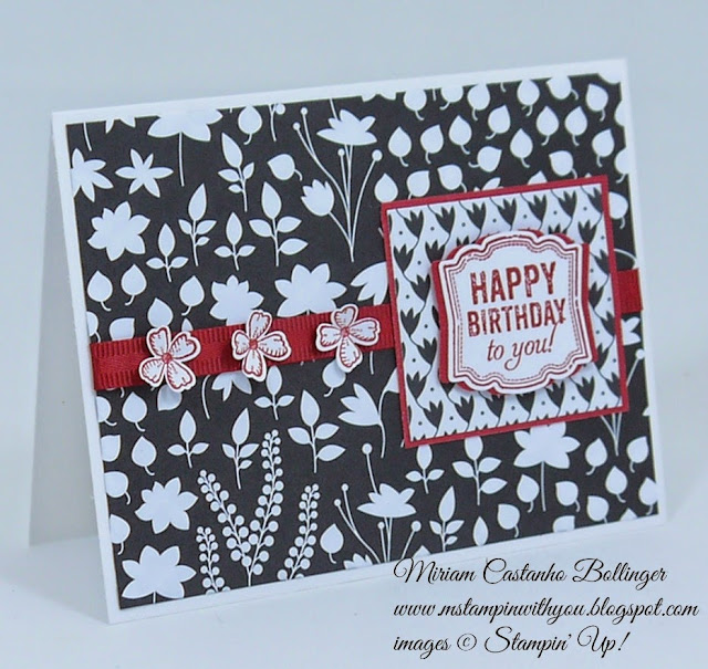 Miriam Castanho Bollinger, #mstampinwithyou, stampin up, demonstrator, pp246, birthday card, back to black dsp, label love, something to say stamp set, itty bitty accents punch, artisan label punch, su