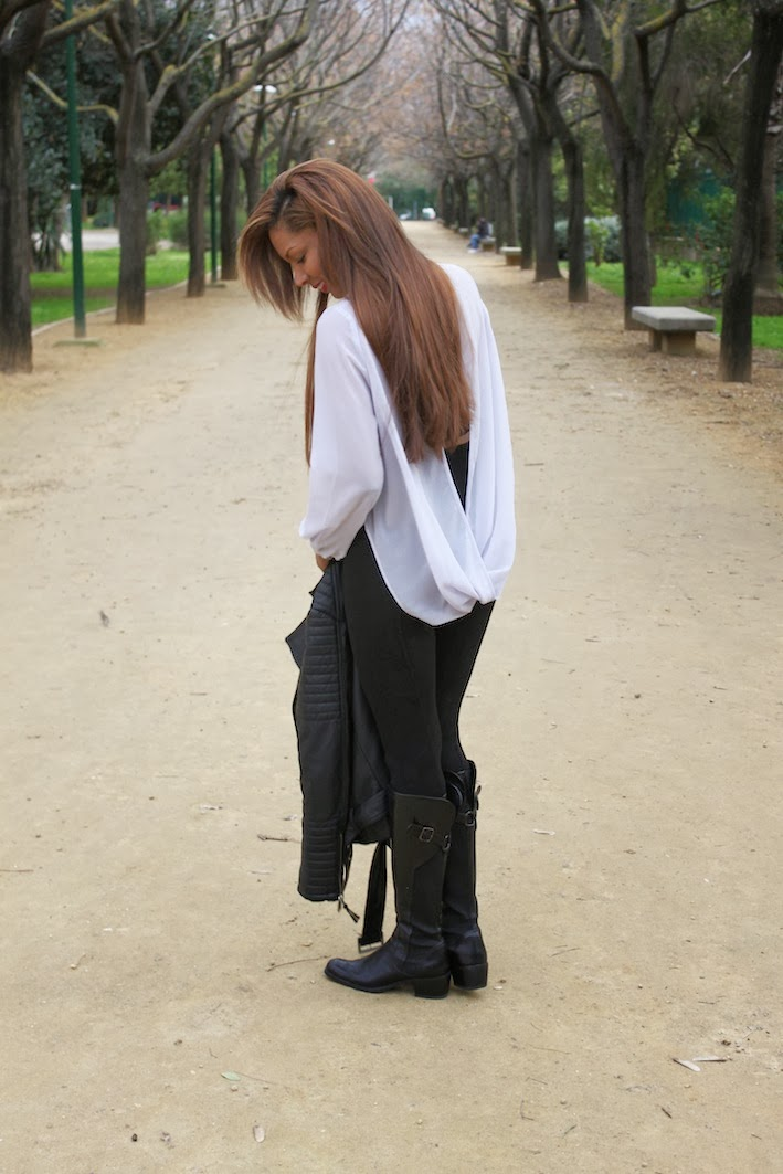 Topshop blouse, Zara pants