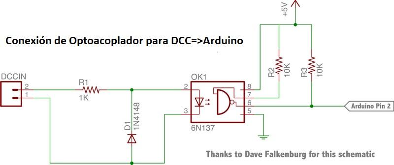 Circuito Optoacoplador : Infotronik arduino lectura del sistema dcc nmradcc