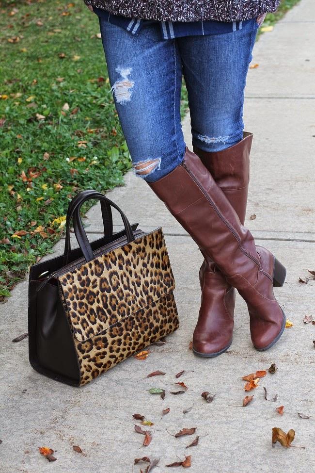 boden leopard handbag, knee high boots, AG jeans