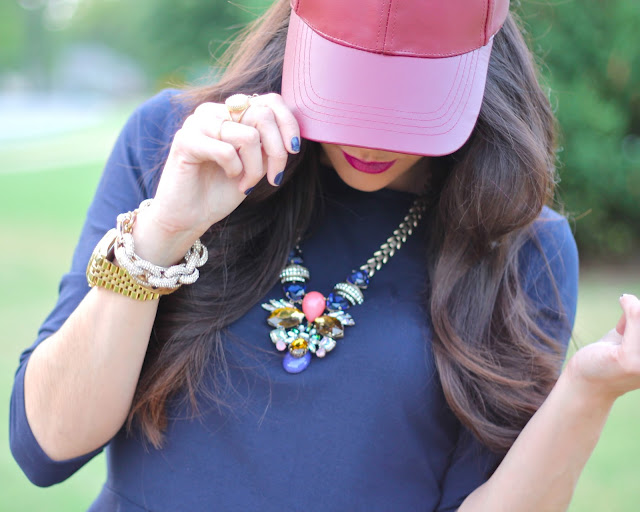 forever 21, style blogger, fashion blogger, long brown hair, curled hair, jcrew, leather baseball cap, jcrew necklace, jcrew replica, peplum, pave link bracelet, rebel lipstick, stylish women, style blogger, fashion blog, fall fashion, fall 2013 fashion, nyfw, jcpenney, express jeans, leopard heels, navy nails, pink peonies, atlantic pacific, michael kors gold watch, girls with style, fashionistas, best dressed bloggers