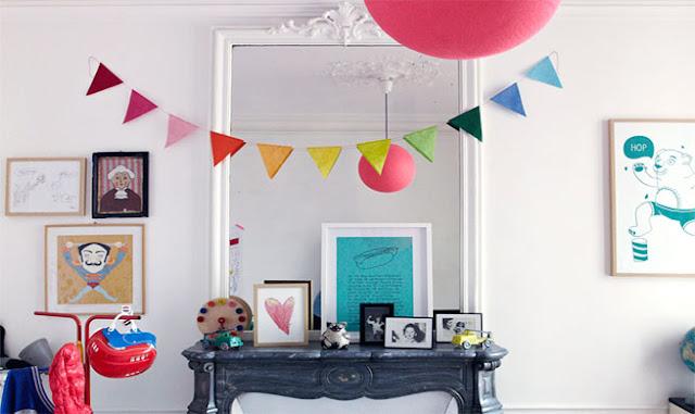 decoracion vintage para niños habitacion infantil blanca con guirnalda