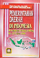 toko buku rahma: buku PEMERINTAHAN DAERAH DI INDONESIA, pengarang pipin syarifin, penerbit pustaka setia
