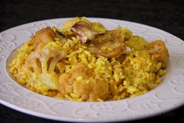 Creando en la cocina arroz con bacalao y coliflor - Arroz con bacalao desmigado ...