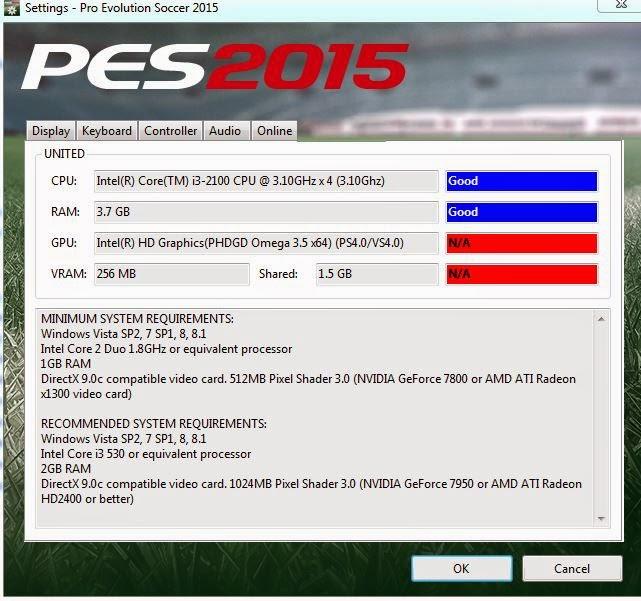 Cara Mengatasi Lag Patah Patah di PES 2015 untuk intel HD