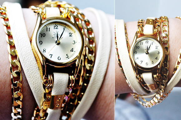 Sara Designs Metallic Leather and Chain Wrap Watch