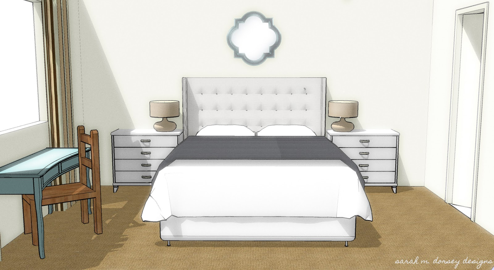 Sarah m dorsey designs mbr ideas with sketchup and photoshop for Mirror in sketchup