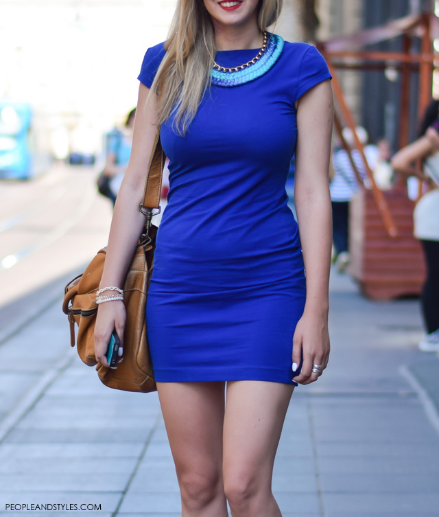 How to style blue mini bodycon dress, ankle boots and statement necklace, street style summer outfit inspiration, designer sunglasses,Ela Butorac