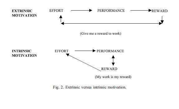 intrinsic vs extrinsic motivation styles Topics include intrinsic and extrinsic motivation, the effect of learning style on motivation and  (extrinsic) motivation vs mastery (intrinsic).