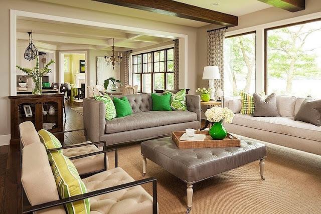 sala cinza com verde