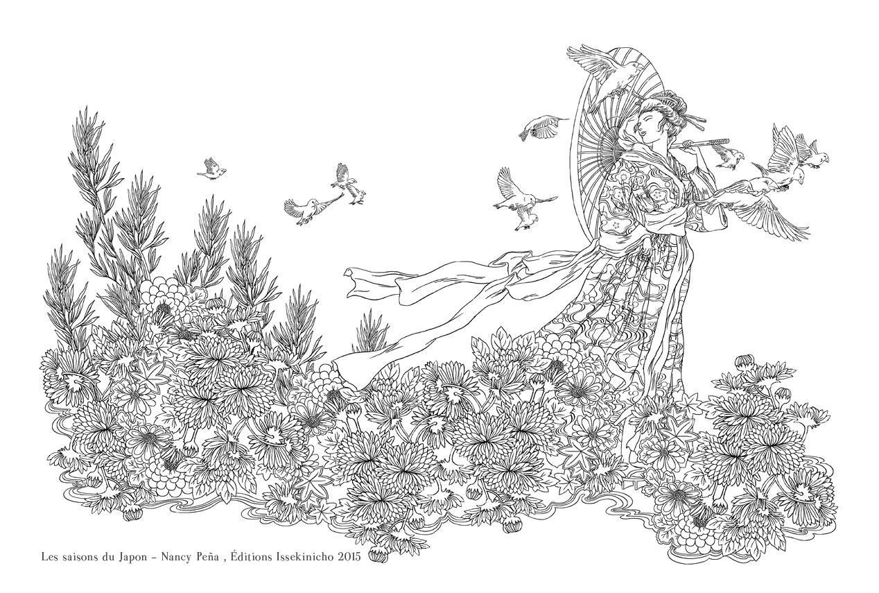 L Etang De Kaeru Colorier Japonais Avec L Illustratrice Nancy Pena