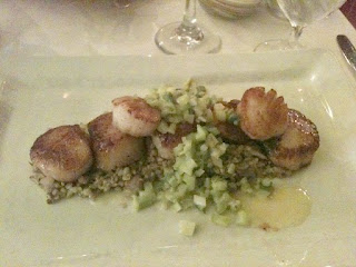 Fat Canary dish: Pan Seared Sea Scallops, Freekeh with Oyster Mushrooms Asparagus, Preserved Lemon and Mint